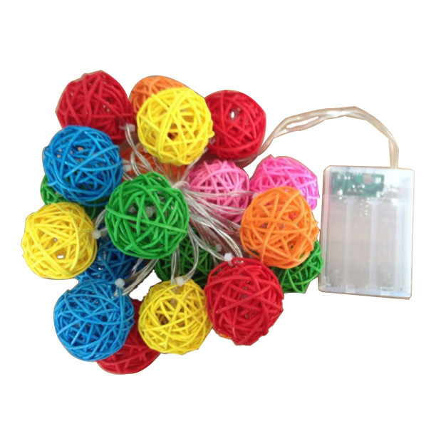 Colorful Rattan Ball LED Fairy String