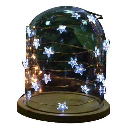 Battery powered Star led copper wire string
