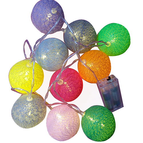Colorful cotton ball battery powered decorative led string