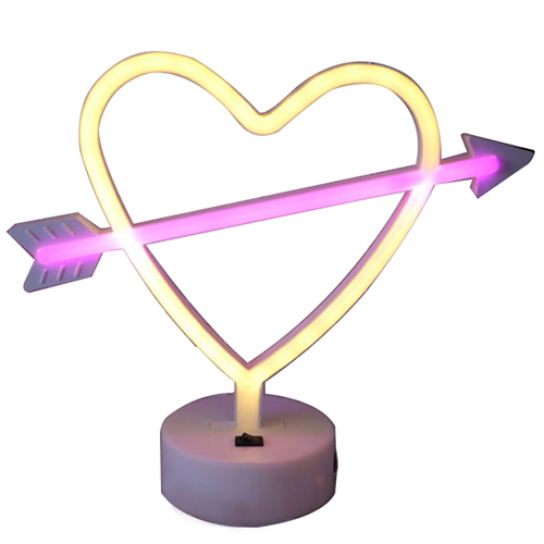 Arrow heart led neon light wedding decoration