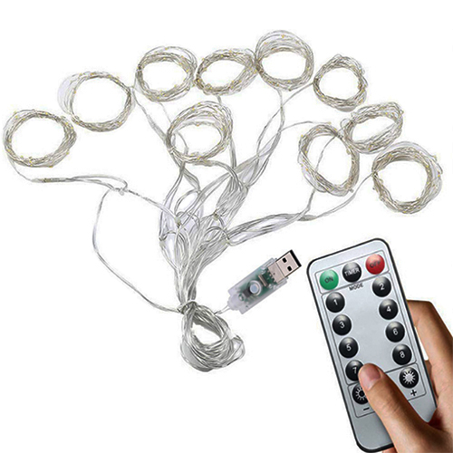 Copper wire curtain string lights with remote controller
